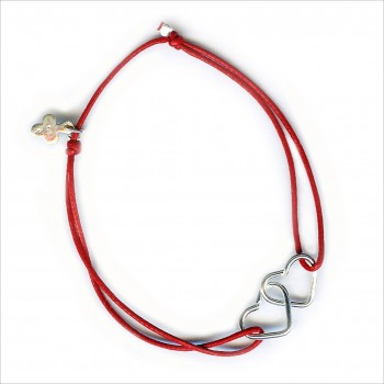 Bracelet 2 coeurs entrelacés coulissant en argent sur lien - Bijoux modernes - Gag and Lou - bijoux fantaisie