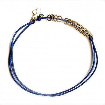L'anneau 15 anneaux sur lien soyeux en plaqué or ajustable - Bijoux modernes - Gag and Lou - bijoux fantaisie