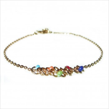 Bracelet anneaux perlés multicolores sur chaine en plaqué or - Bijoux fins et originaux