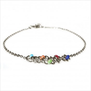 Bracelet anneaux perlés multicolores sur chaine en argent - Bijoux fins et originaux