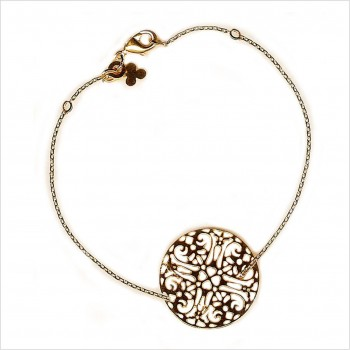 Bracelet médaille dentelle sur chaine plaqué or - Bijoux fins et modernes