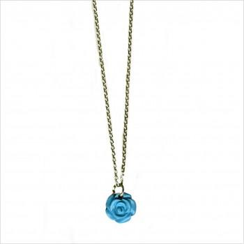 Collier pendentif rose en turquoise sur chaine en argent - Bijoux délicat