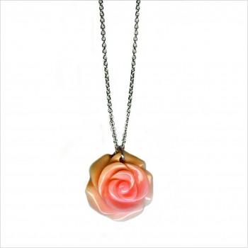 Collier sur chaine en argent pendentif grande rose nacrée - Bijoux moderne