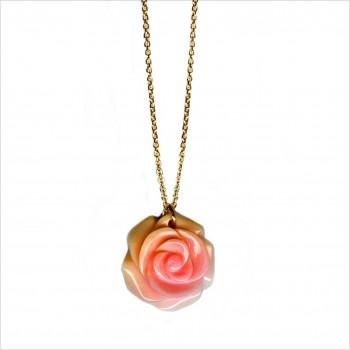Collier sur chaine plaqué or pendentif grande rose nacrée - Bijoux moderne