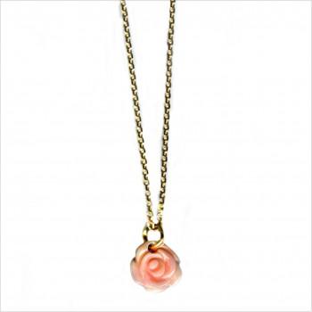 Collier chaine en plaqué or médaille petite rose nacrée - Bijoux fins intemporels