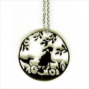 Collier 4 saisons médaille été sur chaine en argent - Bijoux modernes - Gag et Lou - bijoux fantaisie