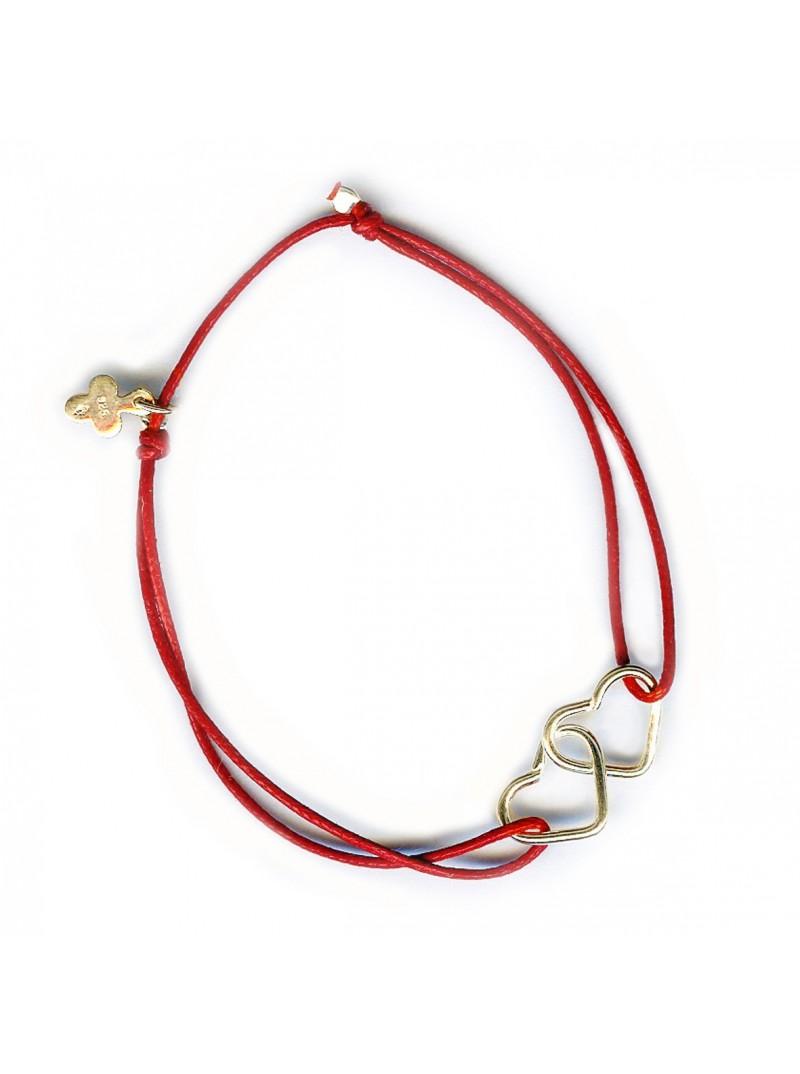 Bracelet 2 coeurs entrelacés coulissant en plaqué or sur lien - Bijoux modernes - Gag and Lou - bijoux fantaisie