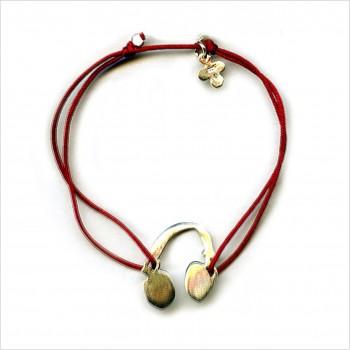 Bracelet découpés sur liens soyeux coulissant le casque 2 cm