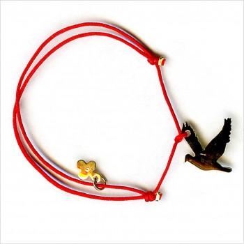 Bracelet découpés sur liens soyeux l'oiseaux 2 cm