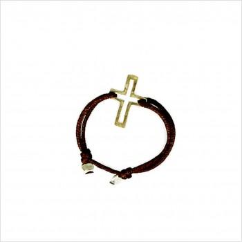 Bague sur lien ajustable breloque croix en plaqué or - Bijoux fins et fantaisies