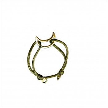 Bague sur lien ajustable breloque lune en plaqué or - Bijoux fins et fantaisies