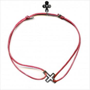 Bracelet croix évidée sur lien soyeux coulissant en argent - Bijoux modernes - Gag and Lou - bijoux fantaisie
