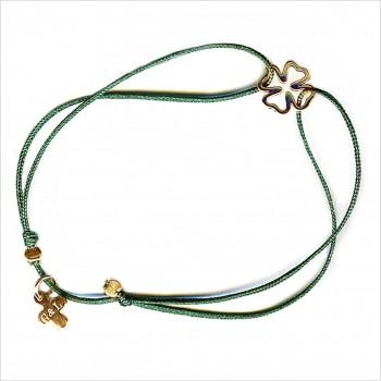 Bracelet évidés sur lien soyeux coulissant le trèfle 1 cm