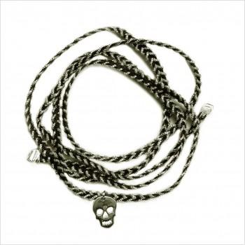 Bracelet découpés la tête de mort 1,5 cm sur lien tréssés