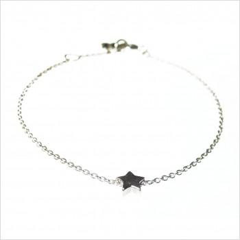 Bracelet ou collier microcharms étoile 0,5 cm sur chaine forçat