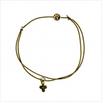 Bracelet microcharms peace sur lien coulissant en plaqué or - bijoux modernes - gag et lou - bijoux fantaisie