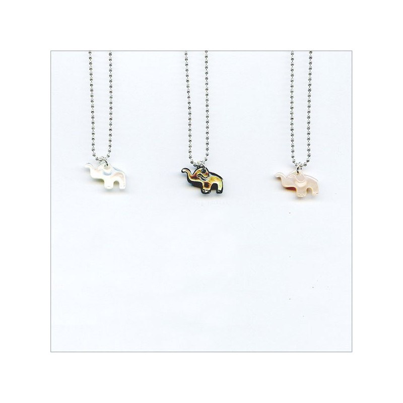 The pearly elephant on silver chain