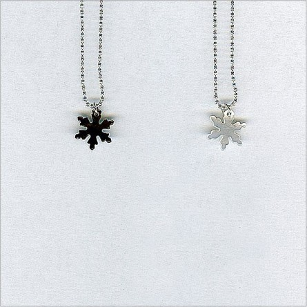The pearly snowflake on silver chain