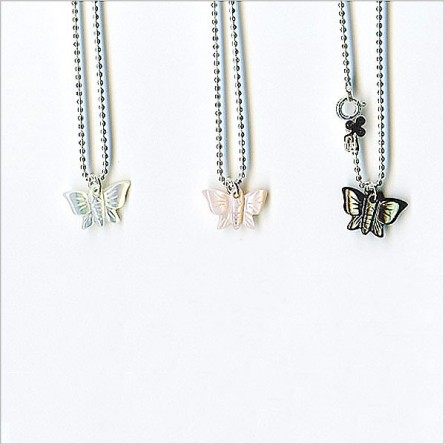 The pearly butterfly on silver chain