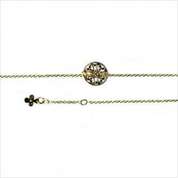 Bracelet médaille mini dentelle sur chaîne plaqué or - Bijoux modernes