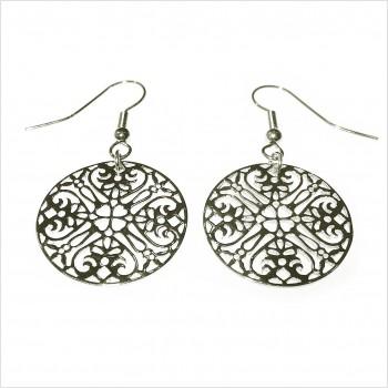 Boucles d'oreilles médaille dentelle pendante en argent - Bijoux fins et modernes