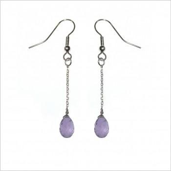 Boucles d'oreille pierre violette pendante sur chaine en argent - Bijoux fins et fantaisies