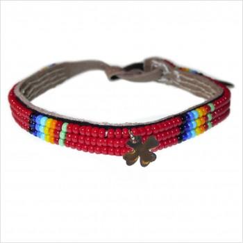 Masaï bracelet with clover mini charms