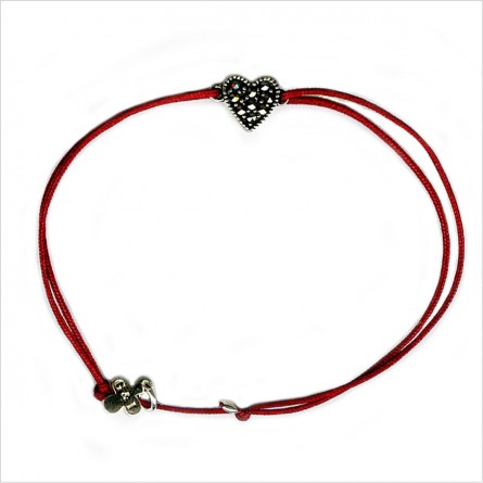 Heart marcasite on sliding link