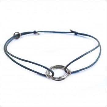Bracelet en argent 3 anneaux entrelacés sur lien soyeux coloré taille ajustable - Bijoux fins et fantaisies