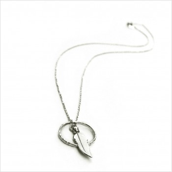 Collier plume dans l'anneau sur chaine en argent - Bijoux modernes - Gag et Lou - bijoux fantaisie