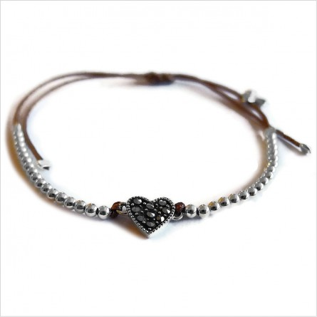 Heart marcasite on sliding link with small bead