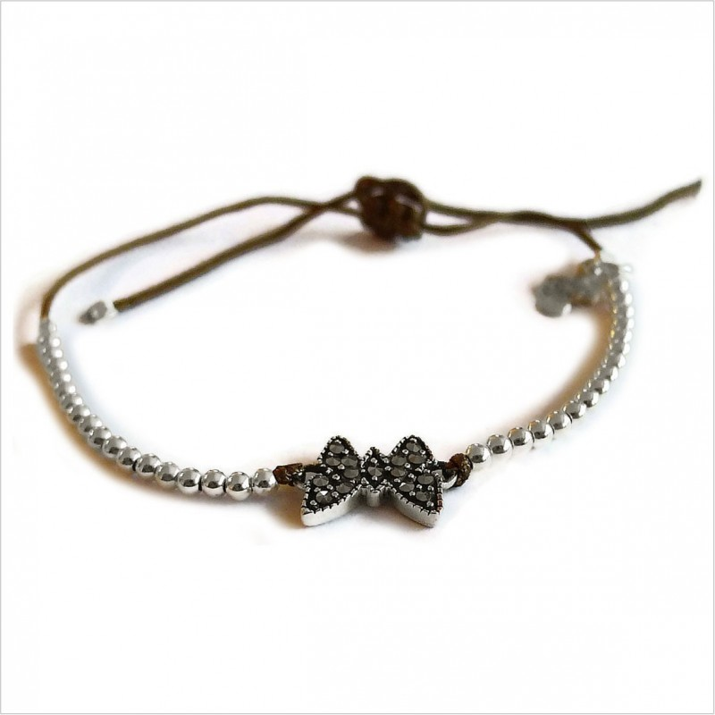 Marcasite butterfly with small bead on sliding link