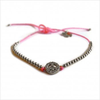 Zirconium peace and love with small bead on a sliding link