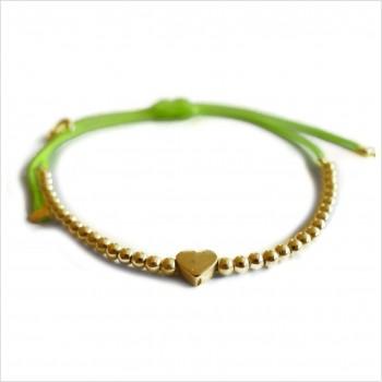 Le coeur micro charms mini perle sur lien coulissant en plaqué or - bijoux modernes - gag et lou - bijoux fantaisie