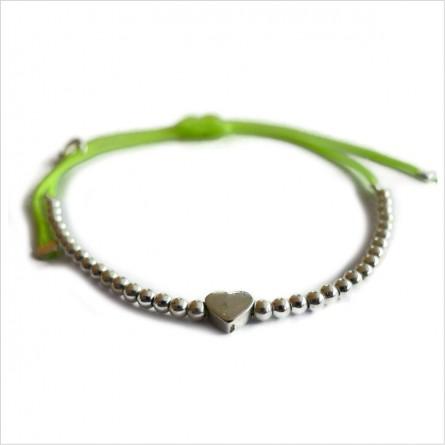 Le coeur micro charms mini perle sur lien coulissant en argent - bijoux modernes - gag et lou - bijoux fantaisie