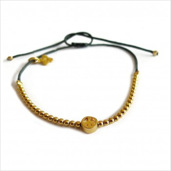 Le peace micro charms mini perle sur lien coulissant en plaqué or - bijoux modernes - gag et lou - bijoux fantaisie