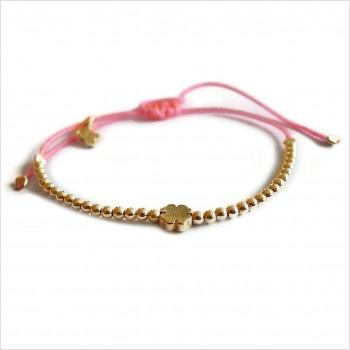 Le trèfle micro charms mini perle sur lien coulissant en plaqué or - bijoux modernes - gag et lou - bijoux fantaisie
