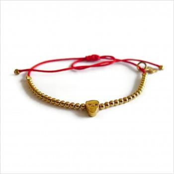 Le tête de morte micro charms mini perle sur lien coulissant en plaqué or - bijoux modernes - gag et lou - bijoux fantaisie