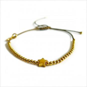 L'étoile micro charms mini perle sur lien coulissant en plaqué or - bijoux modernes - gag et lou - bijoux fantaisie