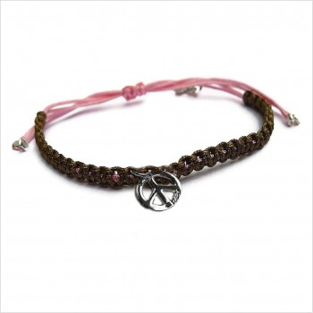 Mini peace and love macramé coulissant bicolore