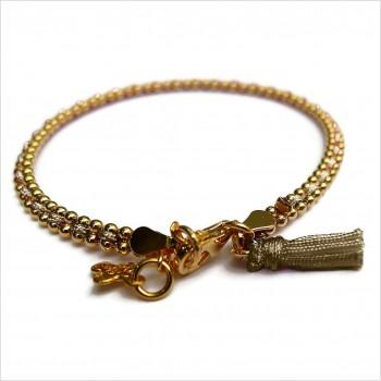 Bracelet Anna 2 rangs en plaqué or enfilé d'un lien soyeux de couleur - Bijoux modernes - Gag & Lou - Bijoux fantaisie