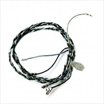 Bracelet brésilien tressé noir/gris matriochka argent - bijoux modernes - gag et lou - bijoux fantaisies