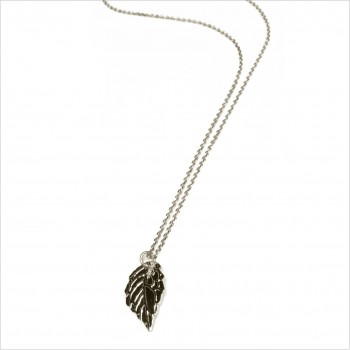 Collier médaille feuille d'automne sur chaine en argent - Bijoux modernes