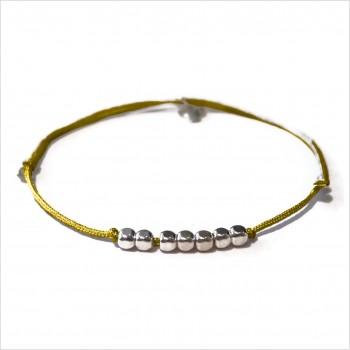 Bracelet semainier sur lien coulissant de couleur 7 perles facettées en argent - Bijoux fins et  fantaisies