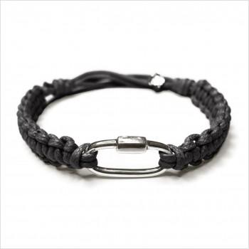 Mousqueton en plaqué or macramé coton ciré noir ajustable - bijoux de créateur