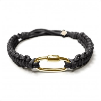 Mousqueton en argent macramé coton ciré noir ajustable - bijoux de créateur