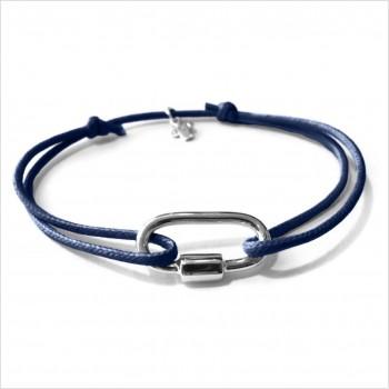 Mousqueton en argent sur lien bleu marine ajustable - Bijoux intemporels de créateur