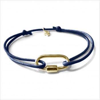 Mousqueton en plaqué or sur lien bleu marine ajustable - Bijoux intemporels de créateur