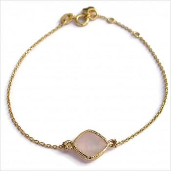 Bracelet Alice sertie d'une médaille rose en plaqué or - Bijoux modernes - Gag and Lou - bijoux fantaisie