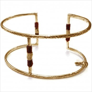 Manchette martelée ethnique 1 barre en plaqué or - Bijoux fins de créateur
